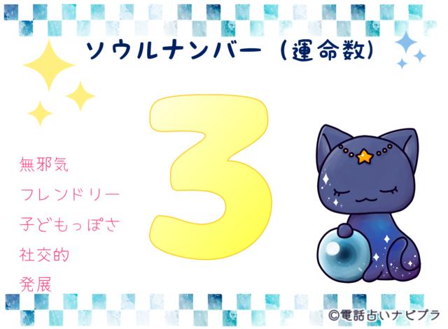 ソウルナンバー(運命数)3