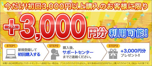 初回3,000円以上購入で+3,000円分ポイントプレゼント!