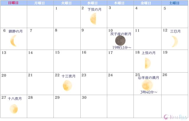 月のカレンダー【2021年6月】